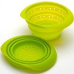 Силиконовый складной дуршлаг, зеленый (диаметр 18 см)