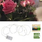 Гирлянда нить 1м теплобелая Белые капли кабель прозрачный батарейки 12 диодов LED
